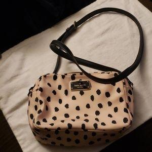 Kate Spade Crossbody Purse Cream Pink Black Spots